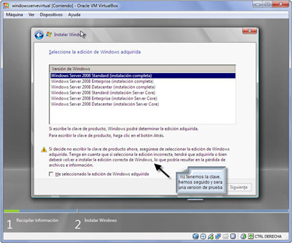 tipo de intalacion en windows server 9