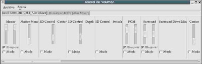 Ajustes de audio en Gnome.