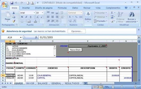 Software contable educativo desarrollado en Microsoft Excel