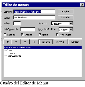Editor de menús en Visual Basic