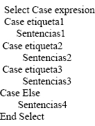 Sentencias SELECT CASE, FOR, NEXT