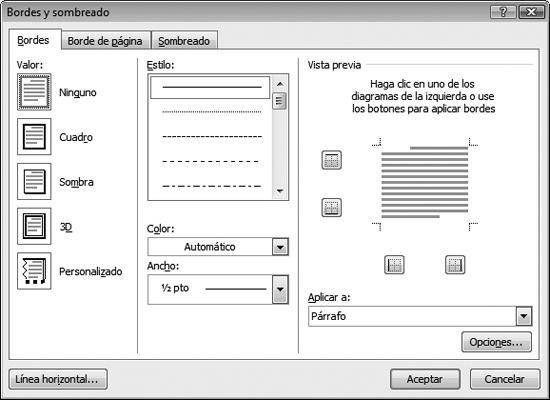 Word 2007. Bordes y sombreados
