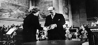 ...Morse accepting Nobel Peace Prize...