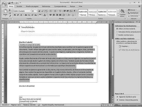 word office escribir carta: