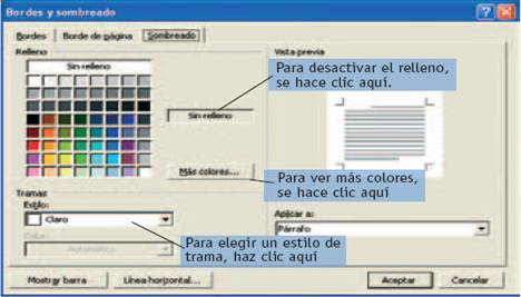 Documento Word 2003. Bordes y sombreado (