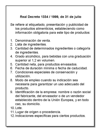La etiqueta y productos recomendados en cada nivel